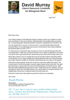 David Murray's letter to voters